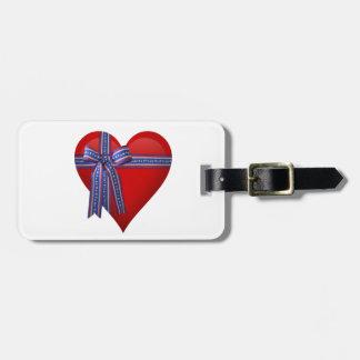 Patriotic Heart graphic Travel Bag Tag