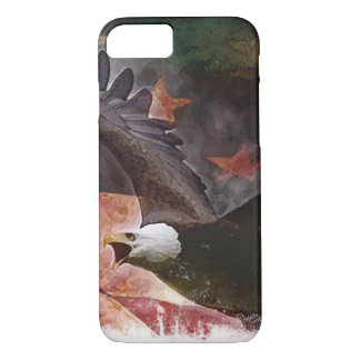 Patriotic iPhone 7 case with Bald Eagle and Flag