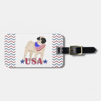 Patriotic USA Pug Red Blue Faux Glitter Chevron Luggage Tags