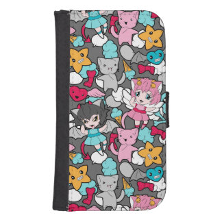 Pattern with kawaii doodle galaxy s4 wallet