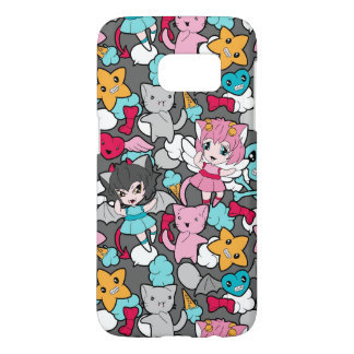 Pattern with kawaii doodle samsung galaxy s7 case