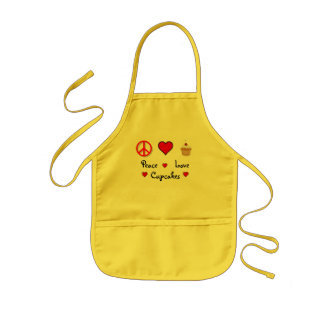 Peace Love Cupcakes Kids Apron