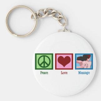 Peace Love Massage Basic Round Button Keychain