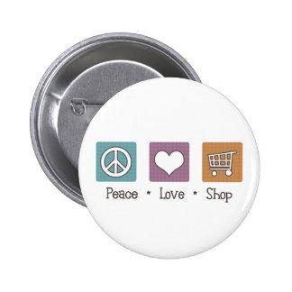 Peace Love Shop 2 Inch Round Button
