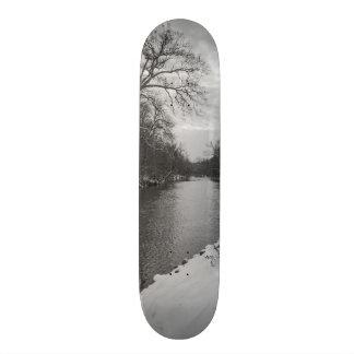 Peaceful Winter At James River Grayscale Custom Skate Board