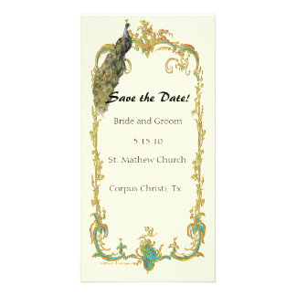 """Peacock with Gold Frame """"Save the Date"""" Card Photo Card"""