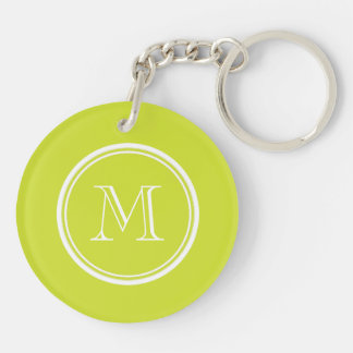 Pear High End Colored Monogram Initial Double-Sided Round Acrylic Keychain