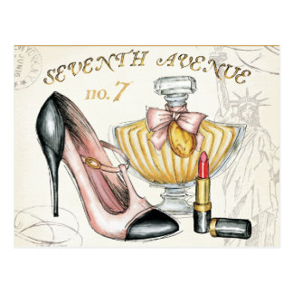 Perfume, Red Lipstick, and a High Heeled Shoe Postcard