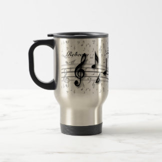 Personalized Black and Gray Musical Notes 15 Oz Stainless Steel Travel Mug