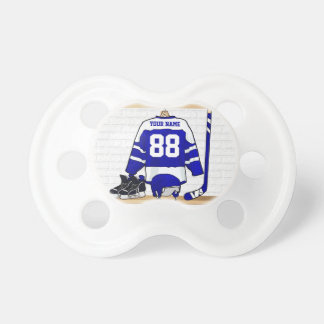 Personalized Blue and White Ice Hockey Jersey Pacifiers