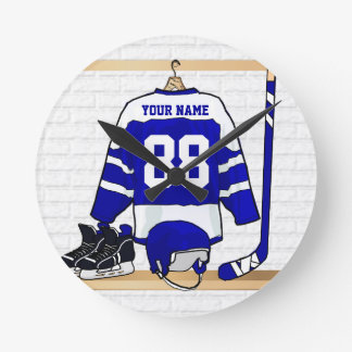 Personalized Blue and White Ice Hockey Jersey Wall Clocks