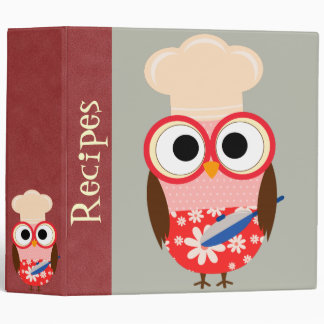 Personalized Cooking Owl Recipe Binder