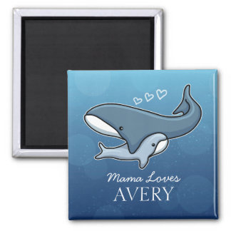 Personalized Cute Mom Baby Whale, Add Kids Name Square Magnet