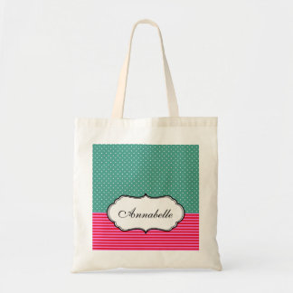 Personalized Cute White Polkadots Teal Pink Stripe Budget Tote Bag
