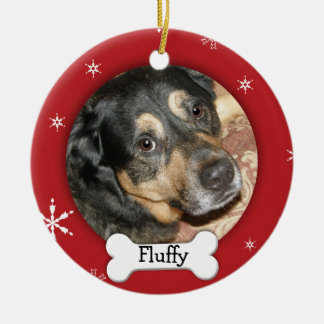 Personalized Dog/Pet Photo Holiday Round Ceramic Ornament