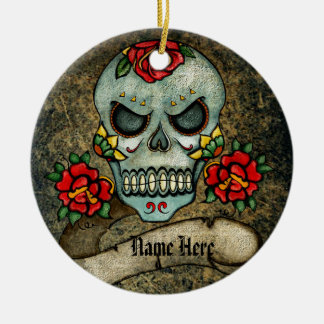 Personalized Goth Biker Sugar Art Skull Grungy Round Ceramic Ornament