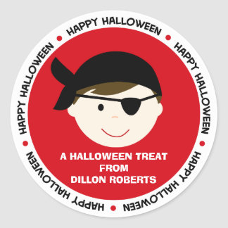 Personalized Halloween Pirate Boy Favor Tag Round Sticker