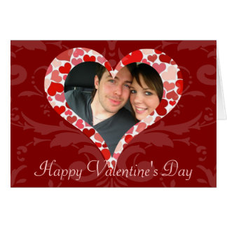 Personalized Heart of Hearts Red Valentine Photo Greeting Card