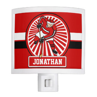Personalized Ice Hockey Player Red Nite Lites