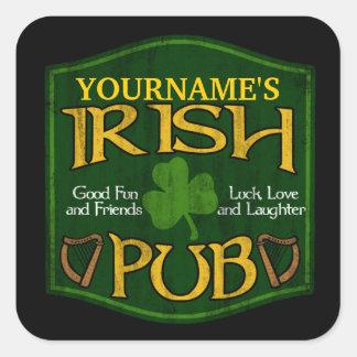 Personalized Irish Pub Sign Square Sticker