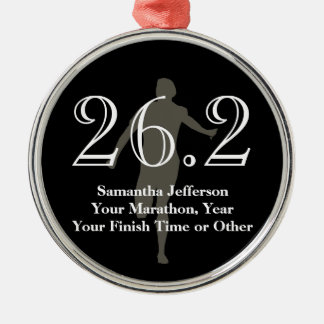 Personalized Marathon Runner 26.2 Keepsake Medal Silver-Colored Round Ornament