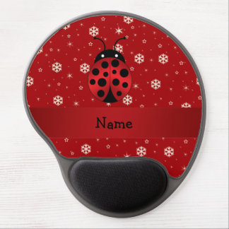 Personalized name ladybug red snowflakes gel mouse pad