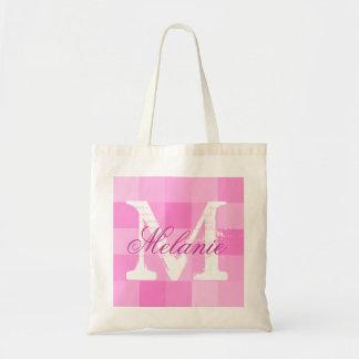 Personalized name monogram tote bag   Pink mosaic
