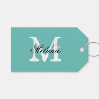 Personalized name monogram wedding favor gift tags pack of gift tags