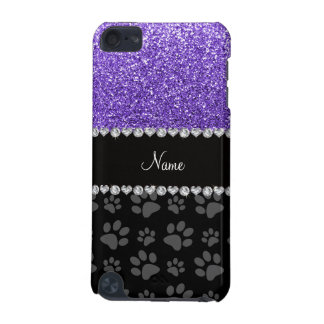 Personalized name purple glitter black paws iPod touch (5th generation) cases