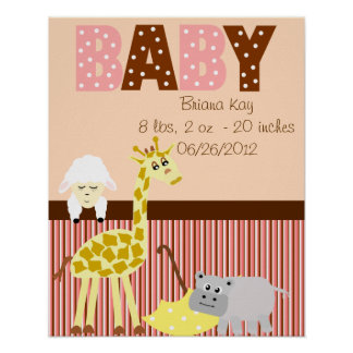 Personalized Nursery Stuffed Animals New Baby Poster