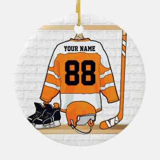 Personalized Orange and White Ice Hockey Jersey Round Ceramic Ornament
