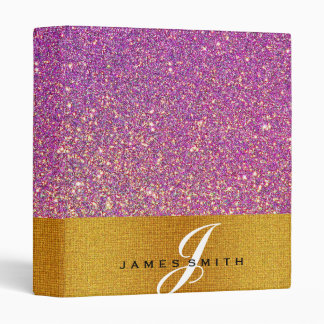 Personalized Pink and Gold Faux Confetti Glitter Binders