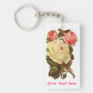 Personalized Pink and White Roses Keychain