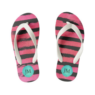 Personalized Pink Watercolor Black Stripes Kid's Flip Flops