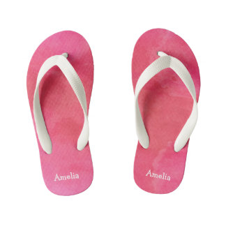 Personalized Pink Watercolor Texture Kid's Flip Flops