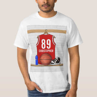 Personalized Red and White Basketball Jersey Shirt