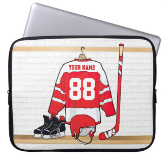 Personalized Red and White Ice Hockey Jersey Computer Sleeve