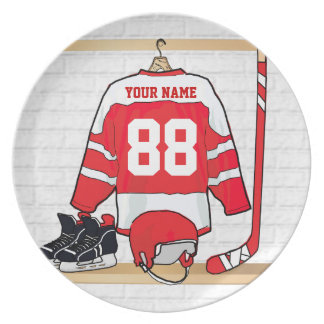Personalized Red and White Ice Hockey Jersey Dinner Plates