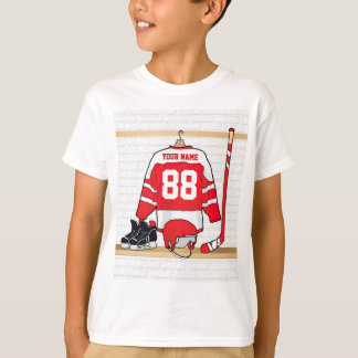 Personalized Red and White Ice Hockey Jersey Shirts