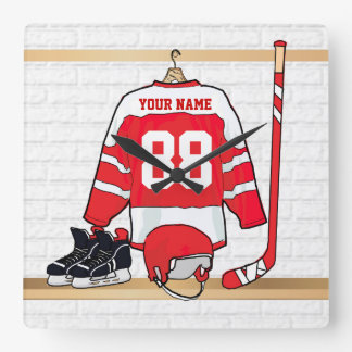 Personalized Red and White Ice Hockey Jersey Wall Clocks