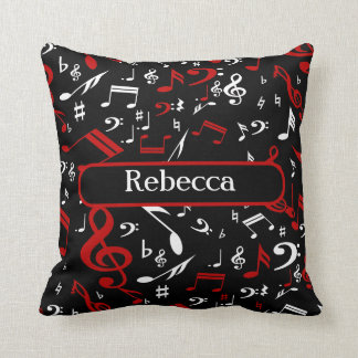 Personalized Red White and Black Musical Notes Pillow