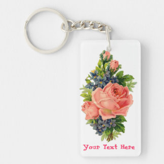 Personalized Roses and Violets Keychain