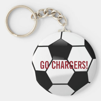 Personalized Soccer Ball with Team Name and Number Basic Round Button Keychain