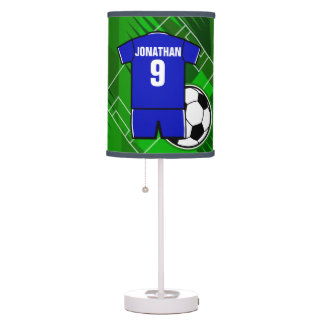 Personalized Soccer Jersey Blue with White Table Lamps
