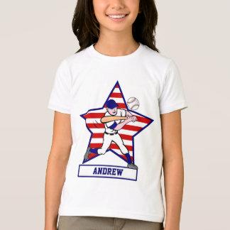Personalized Stars and Stripes Baseball Batter v1 T Shirts