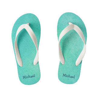 Personalized Turquoise  Watercolor Texture Kid's Flip Flops