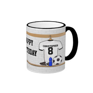 Personalized White Black Football Soccer Jersey Ringer Coffee Mug
