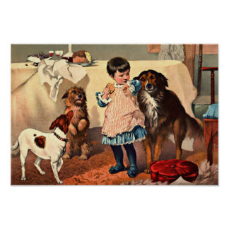 Pet Dogs Begging for Cake Vintage Print