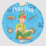 Peter Pan Sitting Down Round Sticker