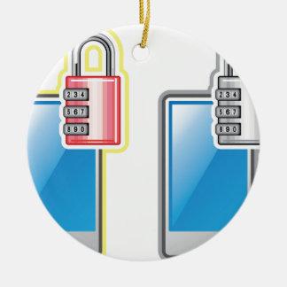 Phone Lock Round Ceramic Ornament